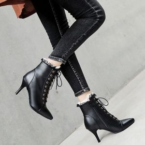 High-Heel Lace-Trim Ankle Boots - Size 10.5